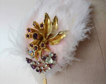 Gold hair band fascinator side tiara with pale pink feathers & vintage purple diamante ~ baby pink ~ bridesmaid ~ wedding ~ prom