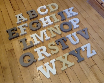Wooden Alphabet Letters - Hand Painted Wooden Letters Set - 26 letters - 12cm high - RS font - various colours and finishes