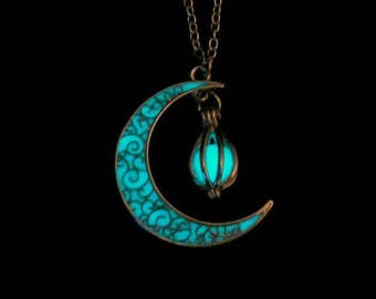 Crescent Moon Glowing Orb Necklace Glow In Dark Necklace Antique Silver (glows aqua blue)