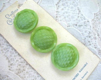 Vintage Glass Buttons ~ 3 Chartreuse Green