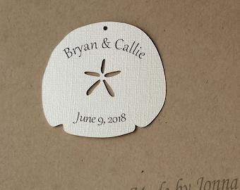 Custom Print Sand Dollar / Seashell Die Cuts, Gift Tags, Beach Theme Embellishments