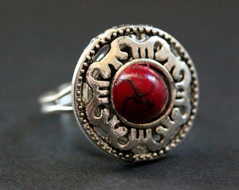 Blood Mandala Ring. Dark Red and Silver Mandala Ring. Button Ring. Adjustable Ring. Handmade Jewelry.