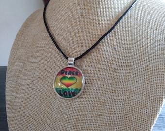 Rastafarian Peace Love Necklace