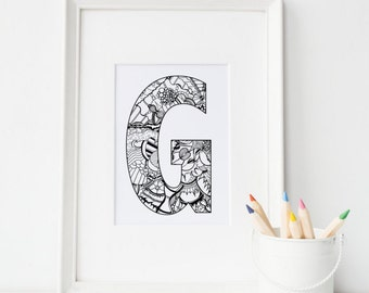 Color Me Doodle Letter-G-Printable G, Digital Download, Wall Art,Personalized Print,  Unique letter, Adult Coloring,  Child Print, Initials