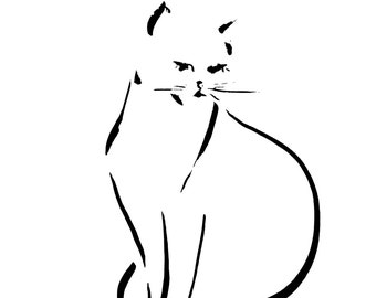 Minimalist cat fine art print, cat ink drawing print, minimalist cat wall print, black and white print