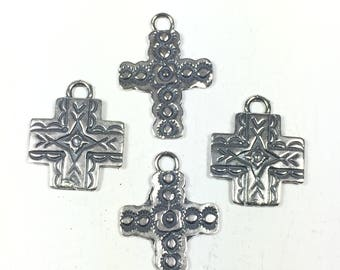 Southwest crosses, Silver cast, 2 styles, stamped cross, oxidized cross, 20 mm x 15 mm, or 15 mm x 15 mm, old pawn element