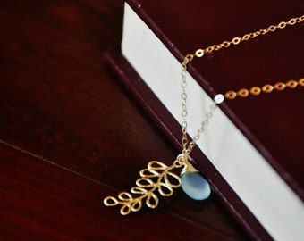 Gold Fern Leaf Necklace with Blue Chalcedony - Gold Necklace, Fern Necklace, Gemstone Necklace, Minimal Necklace, Small Charm Necklace