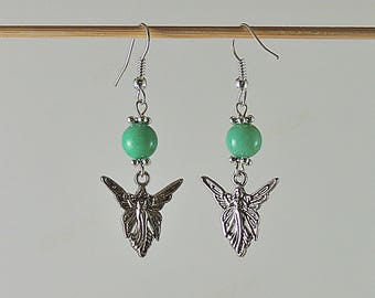 Earrings green jade beads and silver-plated Angel charm