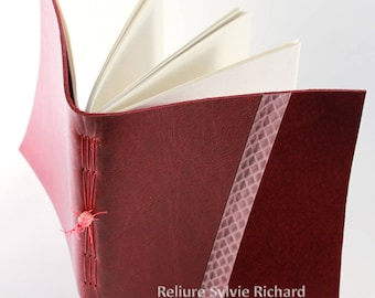 Red Leather Notebook -  personal diary - travel book - soft bookbindings for sketches, drawings, poems, stories, calligraphy ...