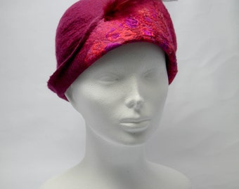 Raspberry Nunofelted Hat, Cloche Felted Hat, Woolen Hat with Feathers Detail, Women's Winter Hats, Unique Felted Hat
