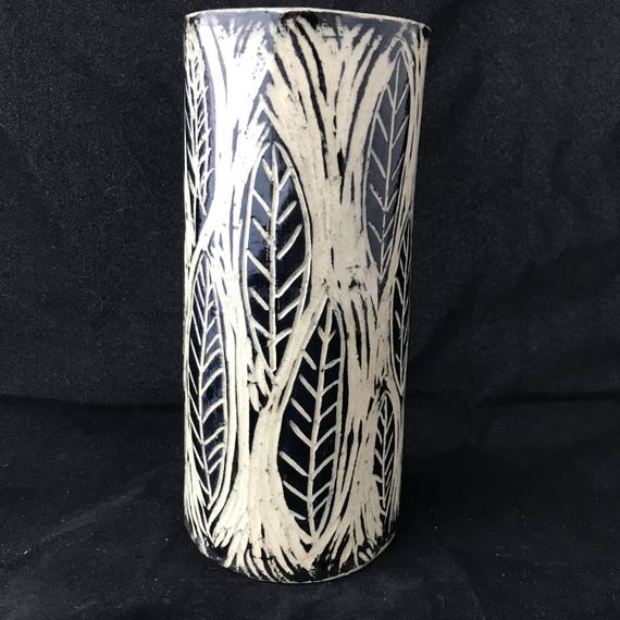Sgraffito Ceramic Vase