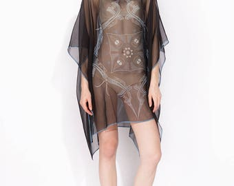 100% silk Boat-necked Short Silk Kaftan 109x86/ No (5) mandala VIETNAMtransparent silk georgette