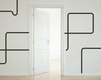Black Road Wall Decals Curved and Straight for Trucks (Repositionable)