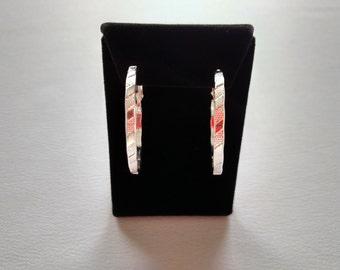 Large Sterling Silver Hoop Earrings Textured Polished Raised Design
