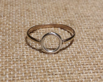 Delicate Suspended Circle Ring in Sterling Silver & 14k Goldfilled