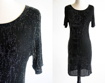 Silver and Black Thread Sheer Loose FIt 80's Lingerie Woman's Slinky Vintage Dress