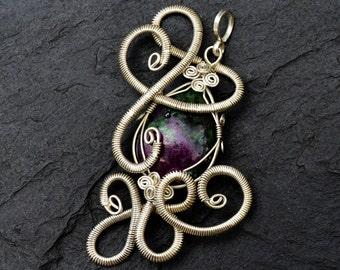 Wire Wrap Pendant, Victorian Pendant, Ruby Pendant, Silver Pendant, Gemstone Pendant, Vintage Inspired, Stone Necklace Pendant