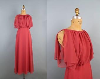 70s Boho Maxi Dress / Cape Dress / Grecian goddess / Bridemaids / Party Dress / Bohemian / 1970s Dress / Disco Dress / Size XS/S