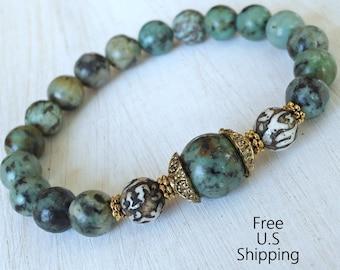 Change, African Turquoise, Turquoise Mala, Yoga Bracelet, Meditation bracelet, Reiki Jewelry, wrist mala, stacking bracelet, Mala