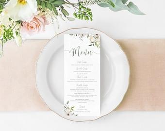 Floral Wedding Menu Wedding Menu Card Menu Template Floral Wedding Wedding Menu DIY Wedding Menu Garden Wedding Floral Menu Template