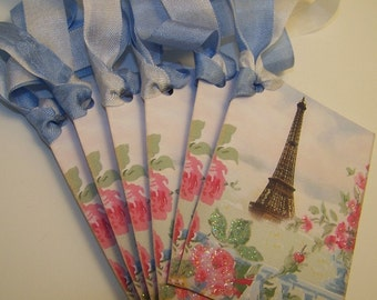 Paris Tags Eiffel Tower Tags All Occasion Vintage French Style Wish Tags Wedding Bridal Shower Mothers Day Set of 6 or 9