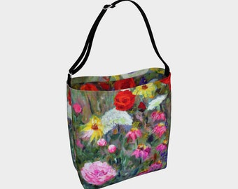 Flowers Tote Bag Shoulder Bag Womens Bag Women Totes Floral Purse Stretchy Bag Neoprene Purse Hippie Bag 50th Birthday Gift for Her Art
