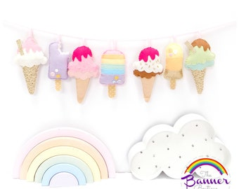 Ice cream garland. Set of 7 ice creams/ice lollies.