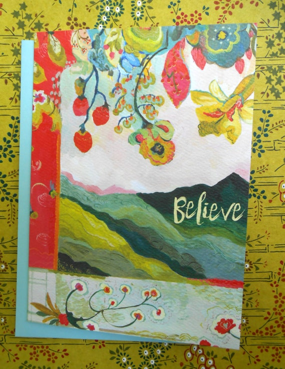 Mt. Pisgah Believe greeting card by Kimberly Hodges, Lao Tzu, A journey of a thousand miles begins with one step, Mt. Pisgah, Asheville card