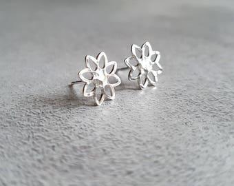Flower Studs - Hammered Stud Earrings - Flower Stud Earrings - Silver Studs - Silver Stud Earrings - Tiny Studs - Small Stud Earrings