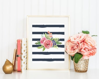 printable wall art print printable art home decor watercolor print digital printable watercolor floral navy stripe coral flowers nursery art