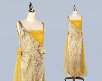 RESERVED ---1910s Dress/ Edwardian to Early 20s Gown / GOLD Lame Metallic Brocade / Golden Yellow Tulle / PROVENANCE
