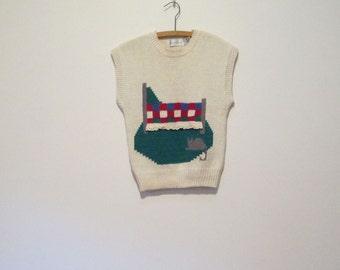 80s 90s Cozy Country Bedroom Cat Cotton Sleeveless Sweater