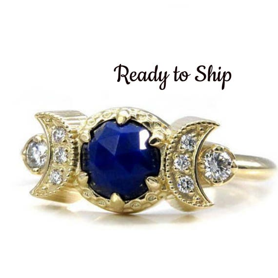 Ready to Ship Size 6 - 8 Lapis Lazuli Engagement Ring with Diamond Crescent Moons - Bohemian Moon Phase Gold Ring