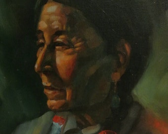 Signed Ernesto Zepeda Oil Painting On Canvas Of A Native American Navajo Indian
