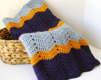 Baby Blanket, Crochet Baby Aghan in Blue and Orange Baby Boy