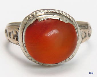 Pretty Antique 1800's Turkish Style Carnelian Stone Ring