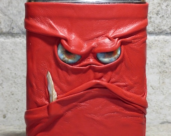 Flask 8 Ounce Red Leather With Face Monster Goth Horror Groomsman Gift One Of A Kind 66