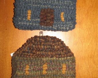 Set of 2 Primitive Hooked Rug Mini Mat and or Coaster Salt Box House, Folk Art