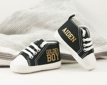 Golden Boy Baby Sneakers, Personalized Baby Gift, Baby Shoe, Baby boy shoe, Personalized Shoes, Infant Shoes, Soft sole, Baby Gifts