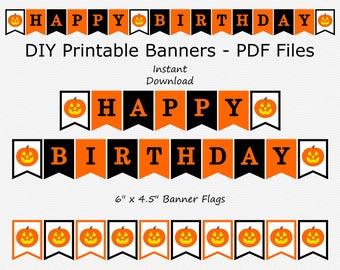 Happy Birthday Banner - Black, Orange - Jack-O-Lantern - Halloween Birthday Party - PRINTABLE - INSTANT DOWNLOAD