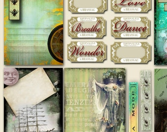 Victorian Journaling Tags and Tickets Collage Sheet, Premade Pages Collage Sheets