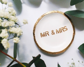MR. & MRS // Handmade Polymer Clay Jewelry Dish, Ring Dish, Trinket Dish