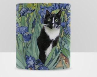 Tuxedo Cat in Van Gogh's Iris Field Mug Cute Cat Love Gift Tea Coffee Mug