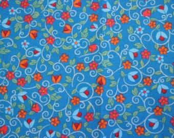 Blue floral quilting fabric, autumn fall cotton fabric, mini floral fabric, quilt fabric sewing supplies, fat quarters pack, UK Quilt SHOP