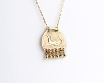 Engraved Sphinx Pendant, Engraved Sphinx Necklace, Engraved Gold Necklace, Engraved Symbol, Delicate Disc Necklace, Mythical Creature