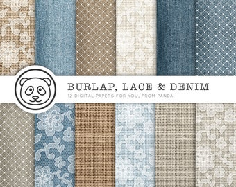Burlap Digital Paper BURLAP LACE DENIM With Blue Brown White Backgrounds Feat