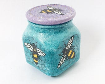 fat bees hand  painted covered glass jar