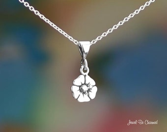 "Tiny Sterling Silver Poppy Necklace 16-24"" Chain or Pendant Only .925"