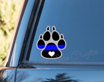 K9 dog heart LEO Deputy Police thin blue line Decal  - Window - Car - Cup - Laptop - Tumbler - Tablet - Sticker - Cling