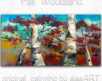 Original art Abstract Painting large Oil Painting, aspen tree art fall Landscape Painting Red Forest 48x24